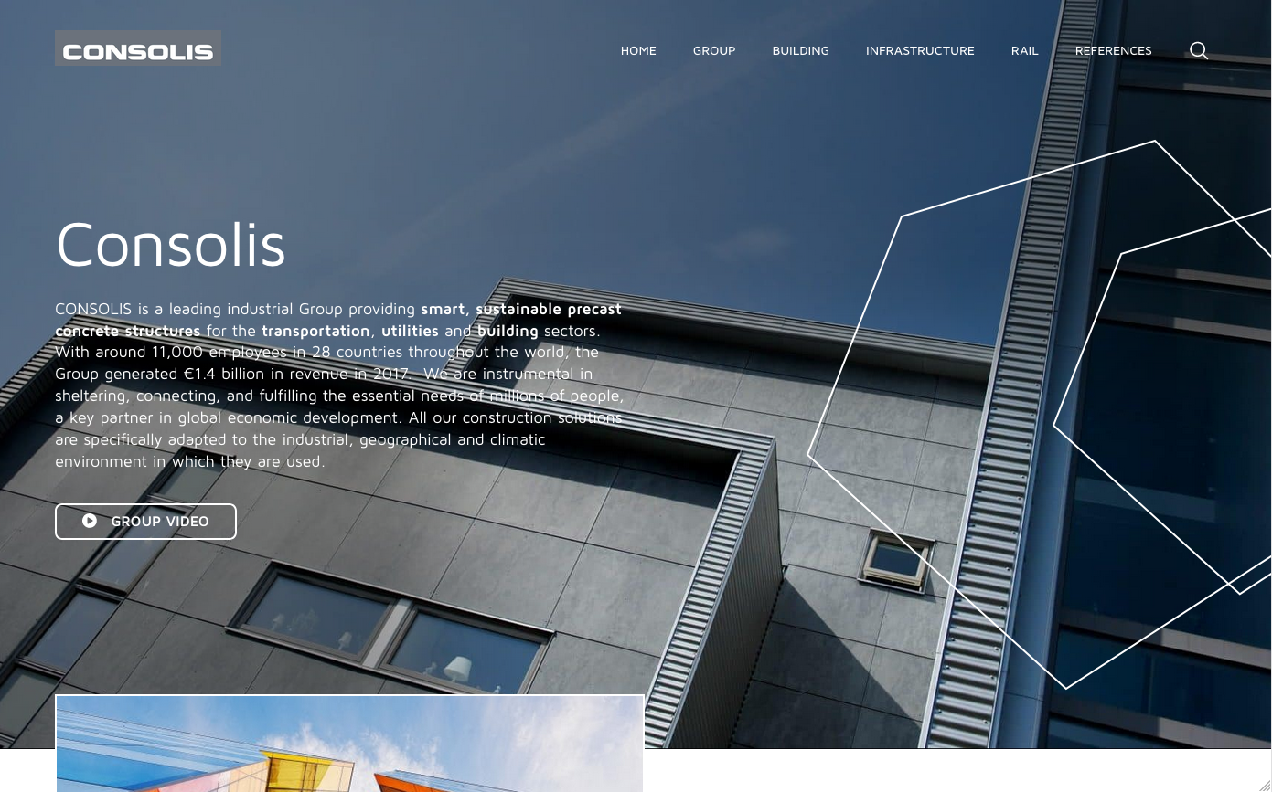 page d'accueil Consolis